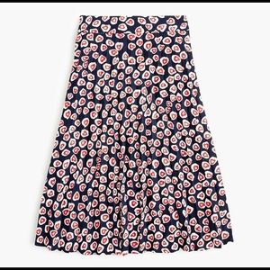 NWT J. Crew 365 crepe heart print pleated skirt 8p